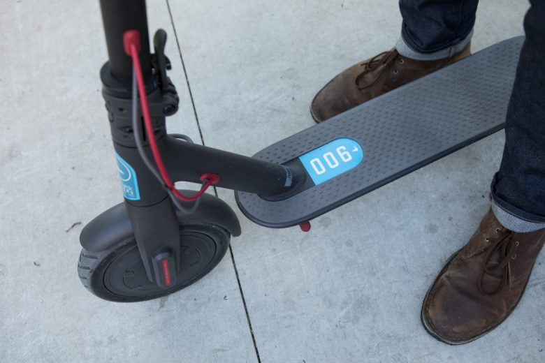 The deck of a Blue Duck Scooter.