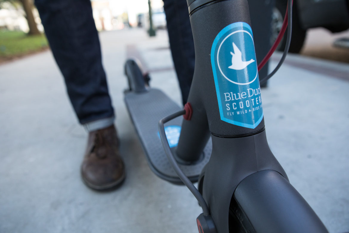 A Blue Duck Scooter.
