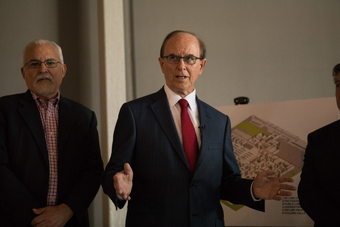 Bexar County Judge Nelson Wolff speaks before the media tour of Bexar County's Justice Intake Center.