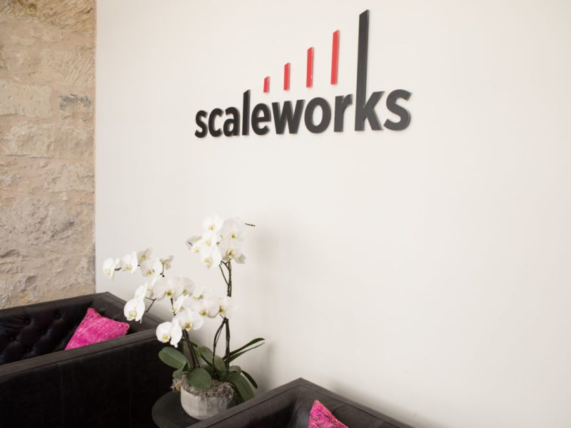 The entryway to the Scaleworks building.