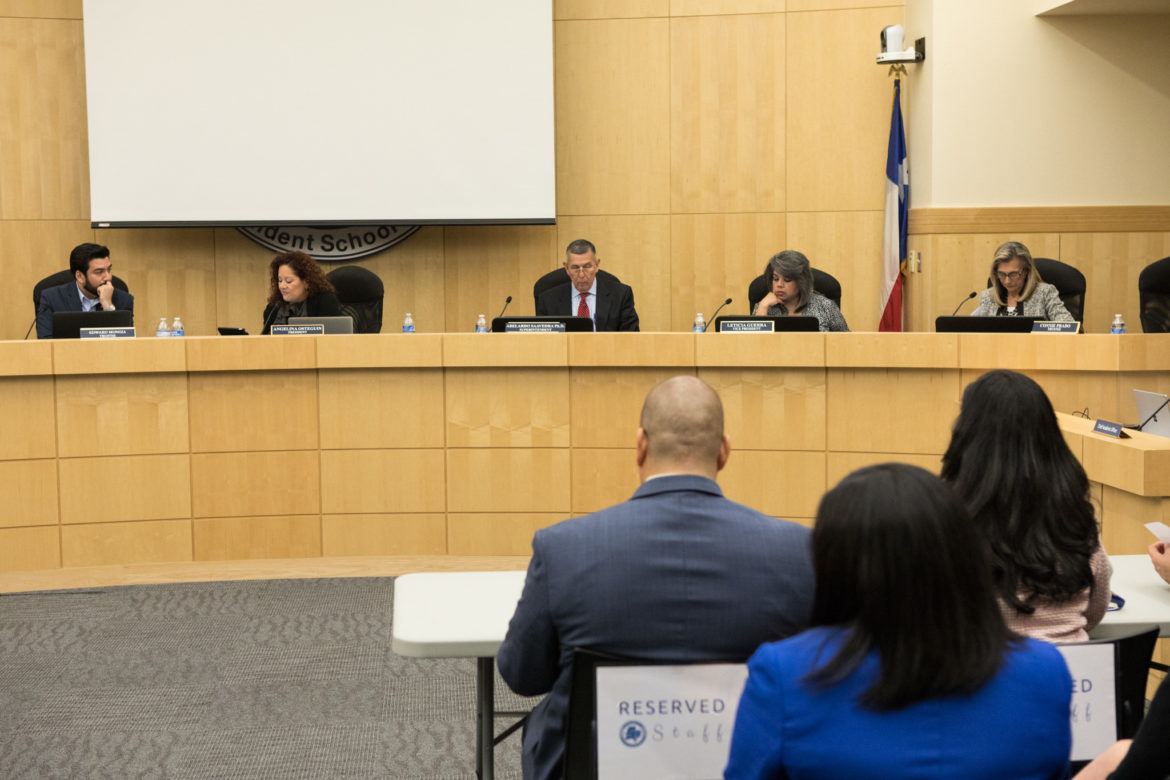 South San Antonio Independent School District board (from left) trustee Edward Mungia, president Angelina Osteguin, superintendent Abelardo Saavedra, vice president Leticia Guerra, and trustee Connie Prado.