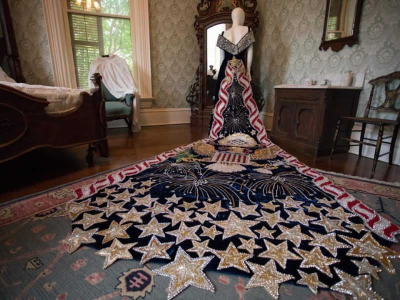 The gown worn in 1999 by Lissa Galt Steves, Duchess Court of Glorious Quest, is on display at the Edward Steves Homestead Museum.