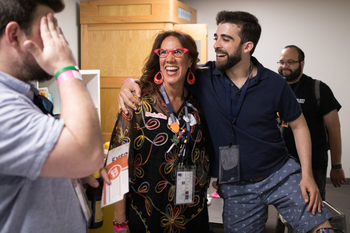 (From left) Catherine Lester and Yousef Kassim, Easy Expunctions CEO, greet one another at the Codeup office during Tech Trek.