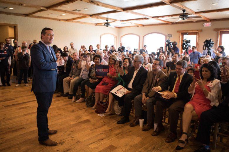 U.S. Senator Ted Cruz (R-TX) speaks to a crowd of people at a campaign stop Tuesday afternoon at La Hacienda Scenic Loop.