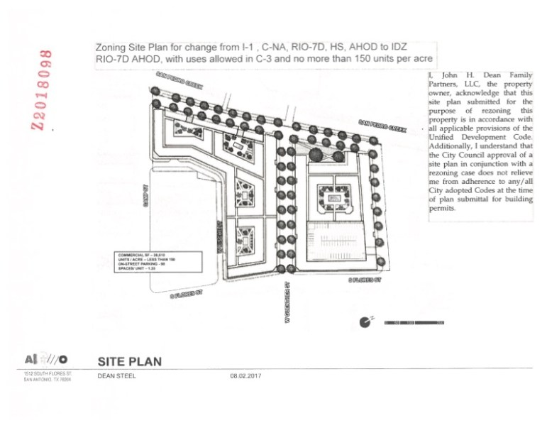 The John H. Dean Family Partners submitted a site plan to the City as part of its rezoning request.