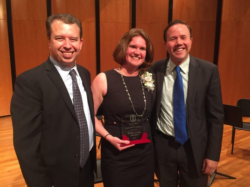 (From left) SAISD Superintendent Pedro Martinez, Trinity prize recipient Andrea Lucas, and Lamar Elementary Principal Brian Sparks.