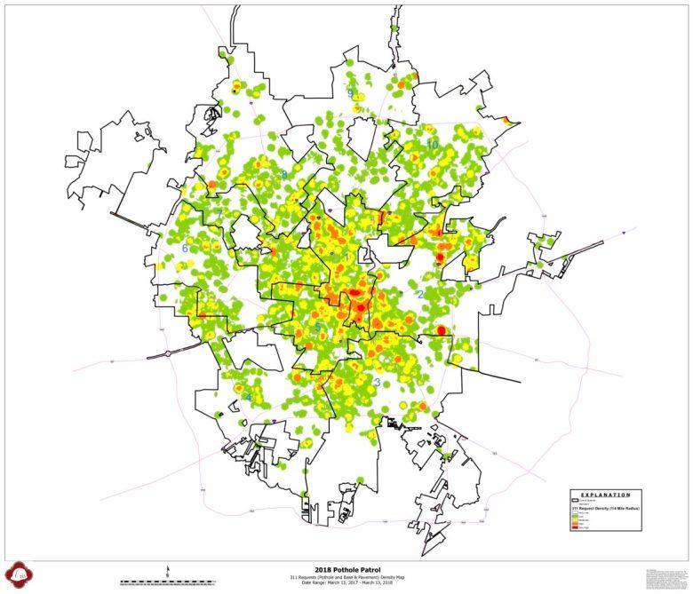 Pothole Patrol Heat Map