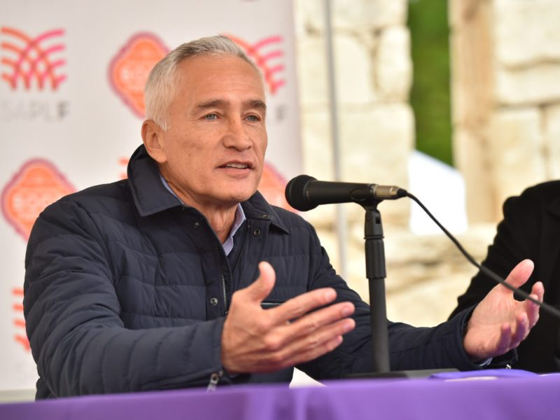 Journalist Jorge Ramos speaks during the San Antonio Book Festival Saturday at the Central Library.