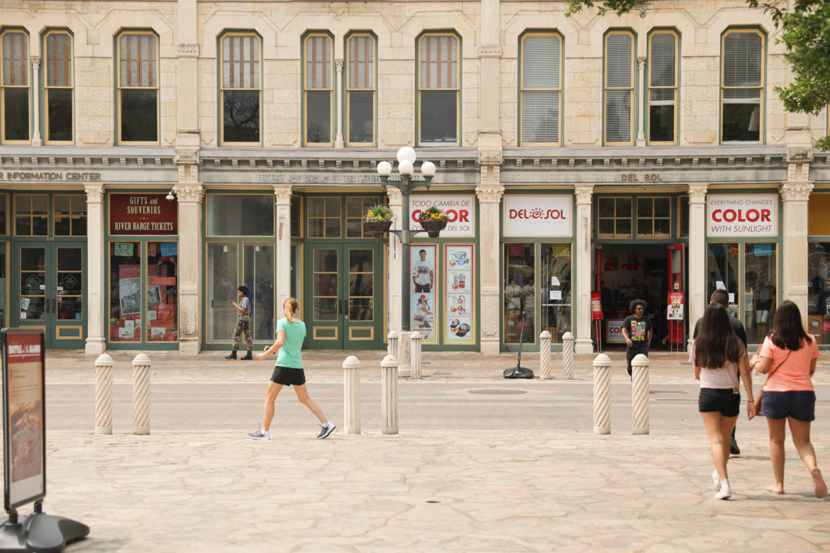 Gift shops, amusement rides, and wax museums make up the businesses at Alamo Plaza.
