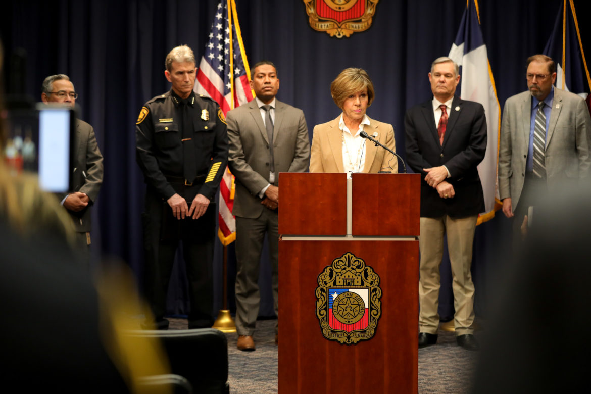 City Manager Sheryl Sculley gives a statement to reporters regarding the San Antonio Police Department and the mishandling of 130 SVU cases.