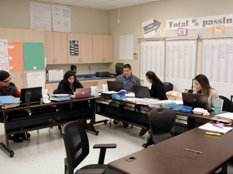 Teachers and department heads work in the self proclaimed 'war-room' at Stonewall-Flanders Elementary in preparation of the STAAR test.