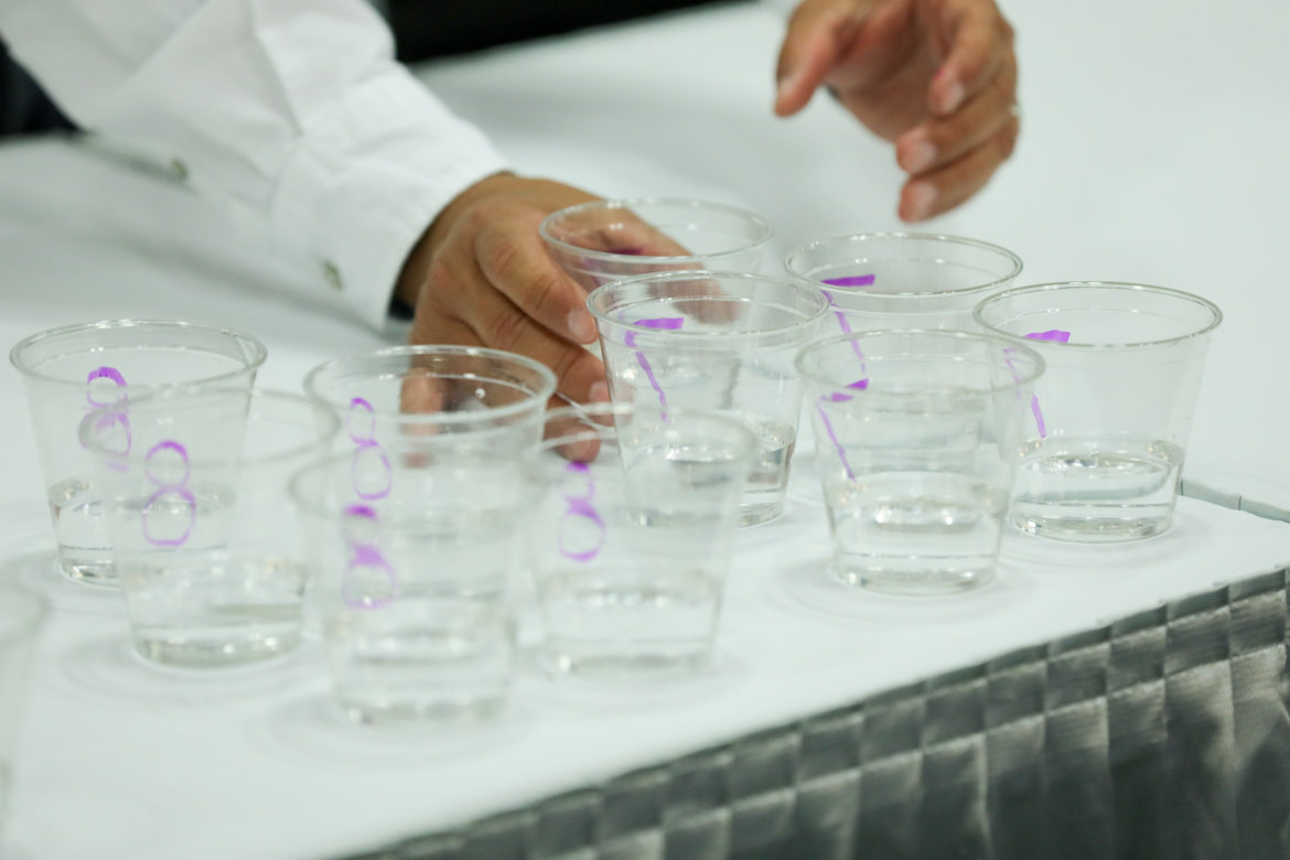 17 samples of Texas drinking water is served up to judges.