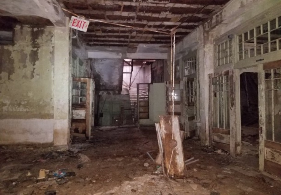 The floor of the Beacon Hill Elementary School building is deteriorating.