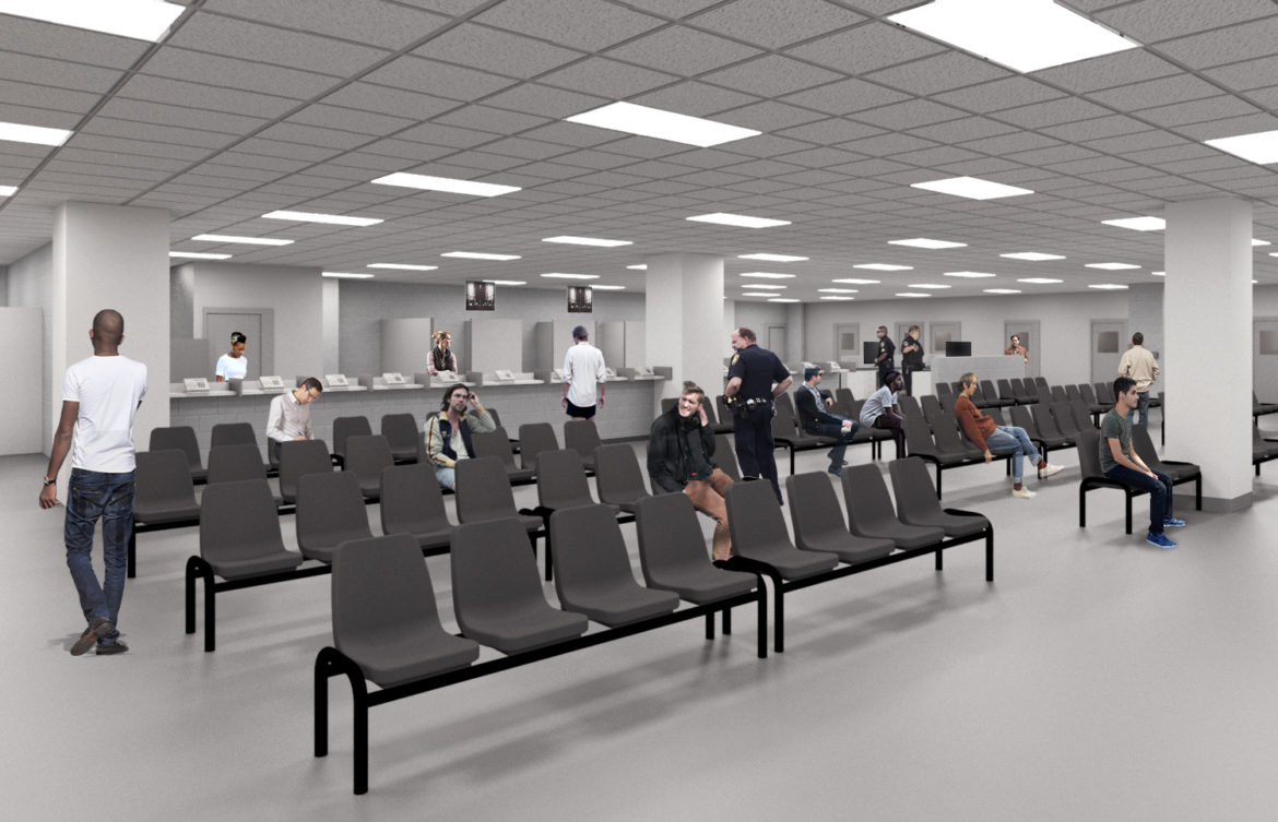 This rendering shows the open booking area of Bexar County's Justice Intake Center.