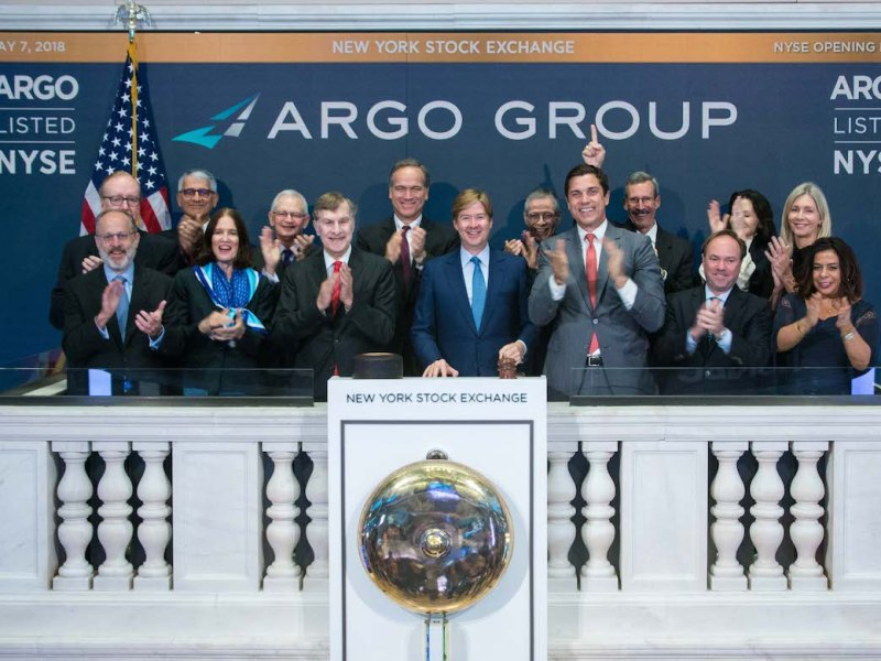 Argo Group International Holdings, Ltd. (NYSE: ARGO) visits the New York Stock Exchange in celebration of their first day of trading on the NYSE. Gary Woods, Chairman, and Mark E. Watson III, CEO, joined by NYSE President Tom Farley, rings The Opening Bell®.