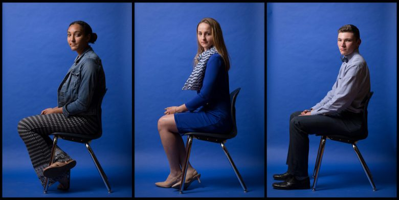 Health Careers High School students (from left) Chloe Kiniry, Audra Blazicko, and Aaron Mayfield sit for a portrait.