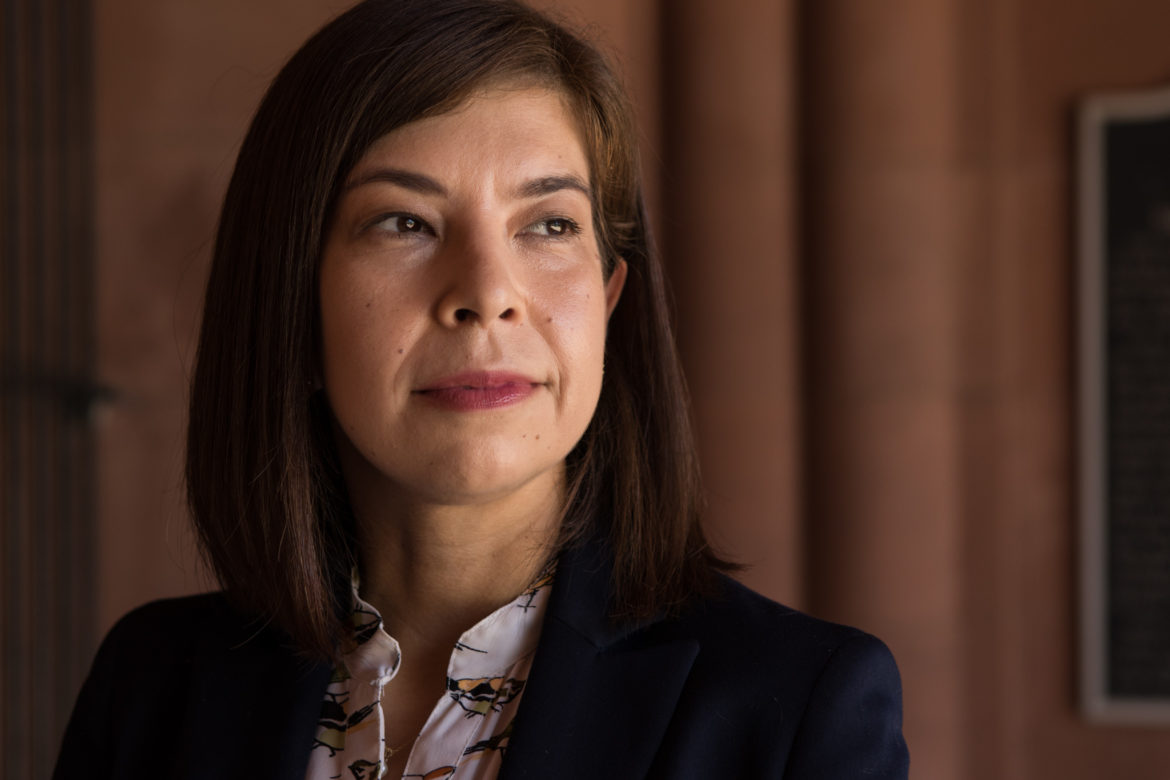 Christine Hortick, president of the Children's Court Attorneys Association (CCAA) in San Antonio, stands outside of the Bexar County Courthouse.