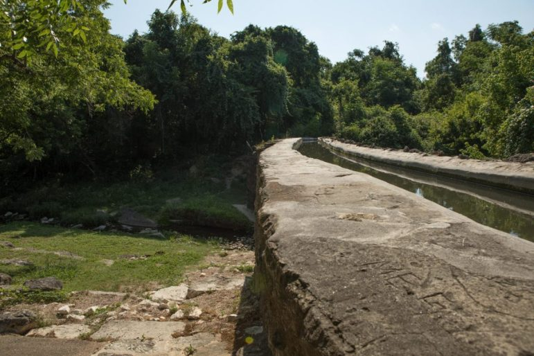 The Espada Aqueduct, designed by Franciscan priests and built in 1741, carries water in the Espada Acequia over Piedras Creek.
