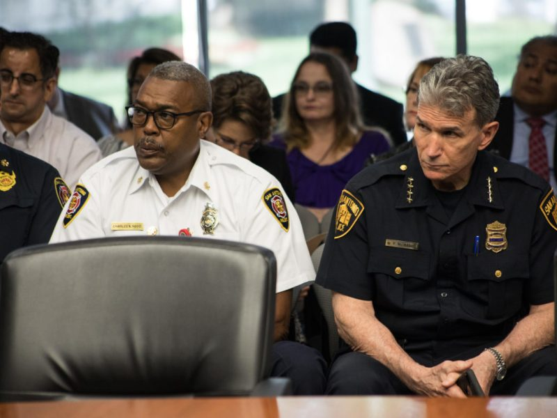 (From left) Fire Chief Charles Hood and Police Chief William McManus.