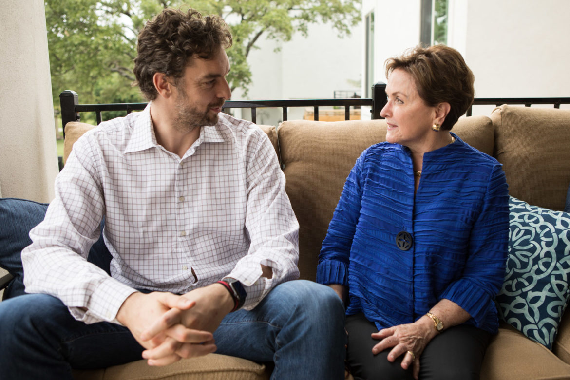 Pau Gasol, the San Antonio Spurs' center and a six-time NBA All-Star who has joined the San Antonio Symphony's advisory board, sits with Kathleen Weir Vale, chair of the San Antonio Symphony board of directors.
