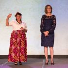(From left) Erika Prosper Nirenberg and Tracy Wolff welcome guests and introduce the Native American blessing.