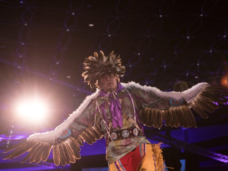 Andrew De Luna of the United San Antonio Pow Wow performs during the Tricentennial Founders Day Gala in May.