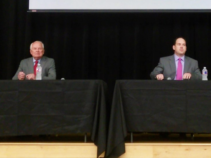 (From left) Steve Allison and Matt Beebe, candidates in the GOP runoff for Texas House District 121, prepare for a voters' forum.