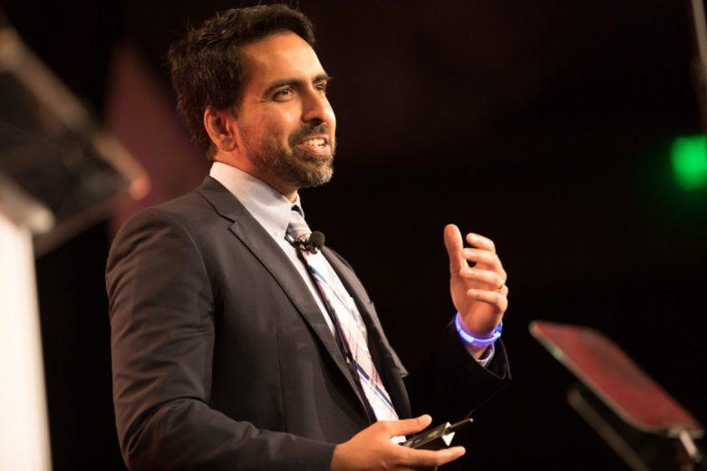 Founder of Khan Academy Salman Khan gives the keynote speech.