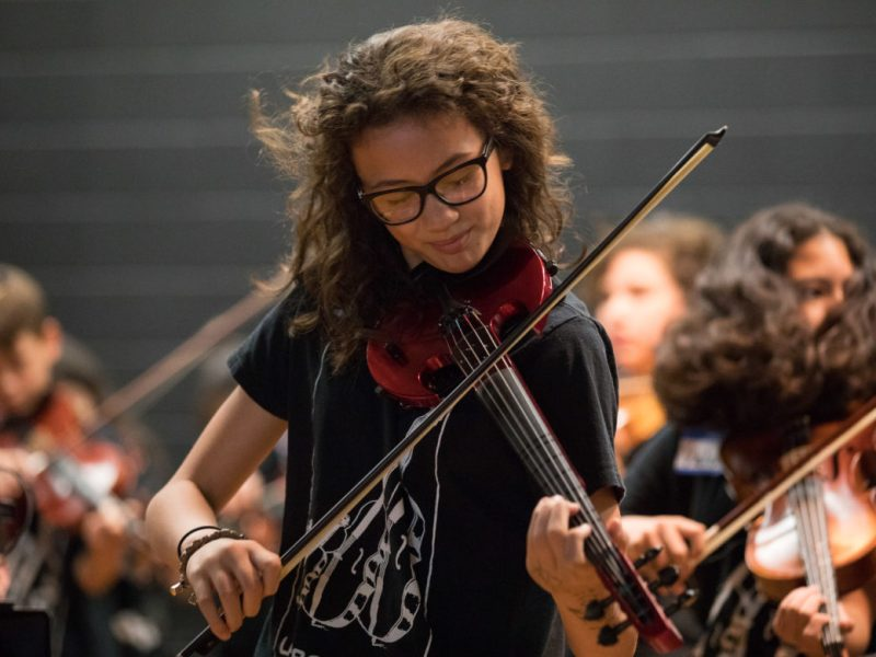 A student from Zachary Middle School plays her violin while head banging to 'Crazy Train'.