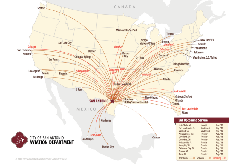 This map shows the 53 nonstop flight destinations from San Antonio International Airport. Red lines demonstrate upcoming nonstop flights.