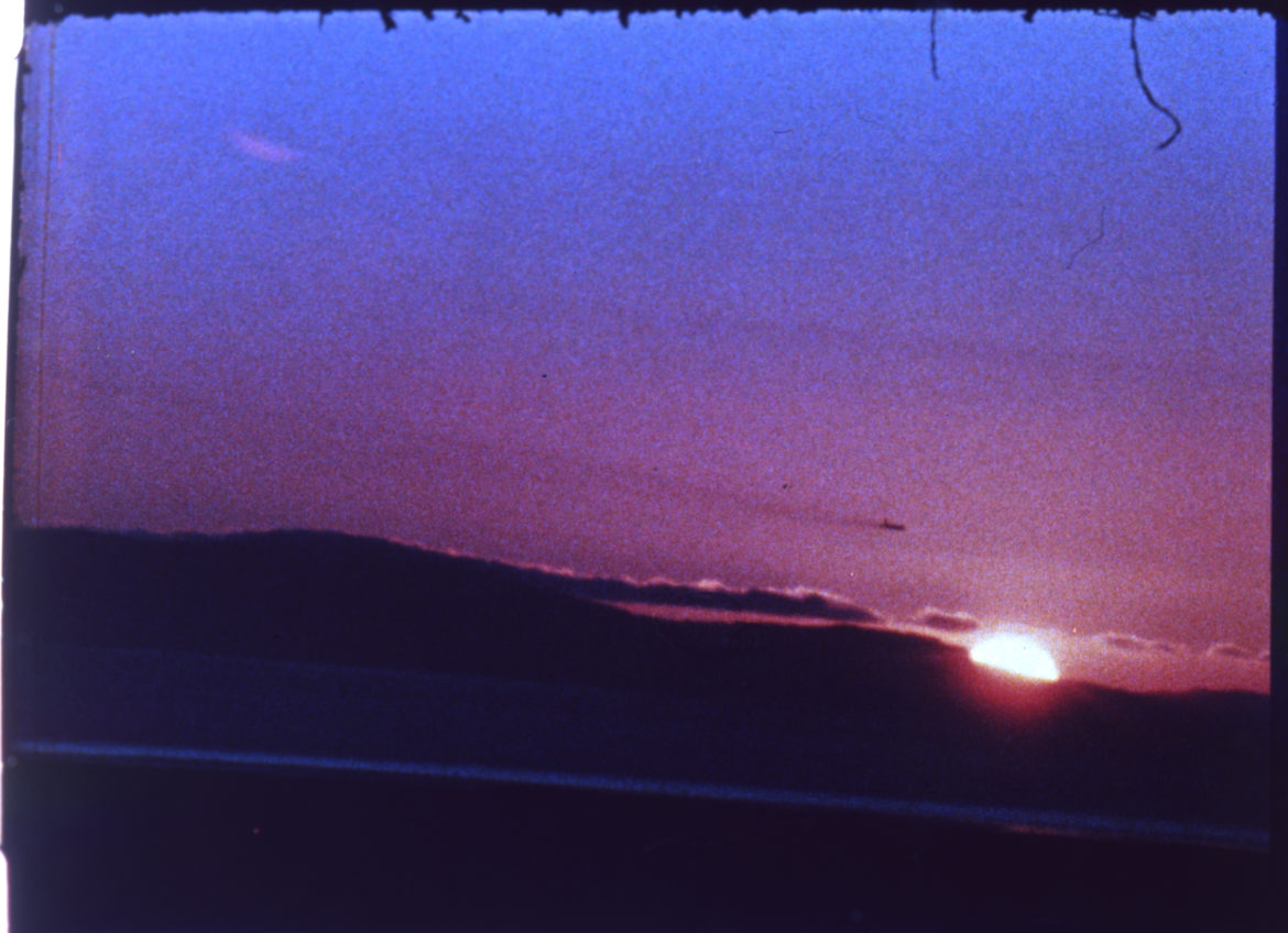 A still from the film Sunset by Andy Warhol.