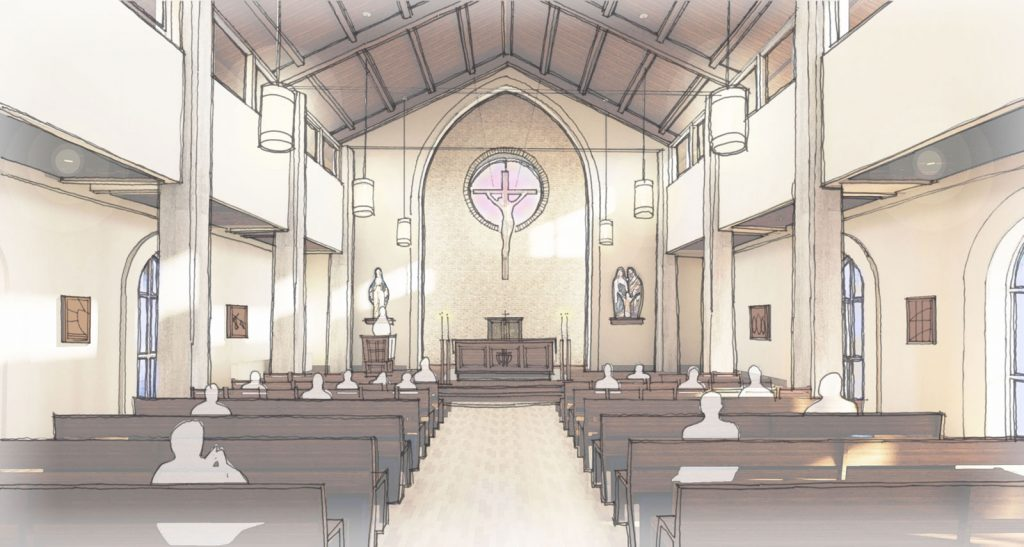 This rendering shows the Mother Adele Chapel and Reflection Garden of Central Catholic High School's proposed Convocation Center.