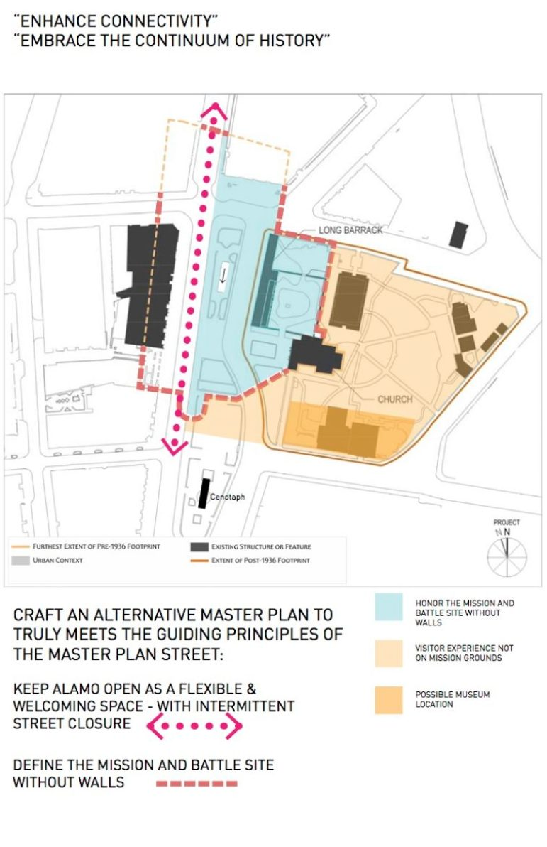 This site plan outlines David Lake's suggested changes to the Alamo Plaza Interpretive Design.