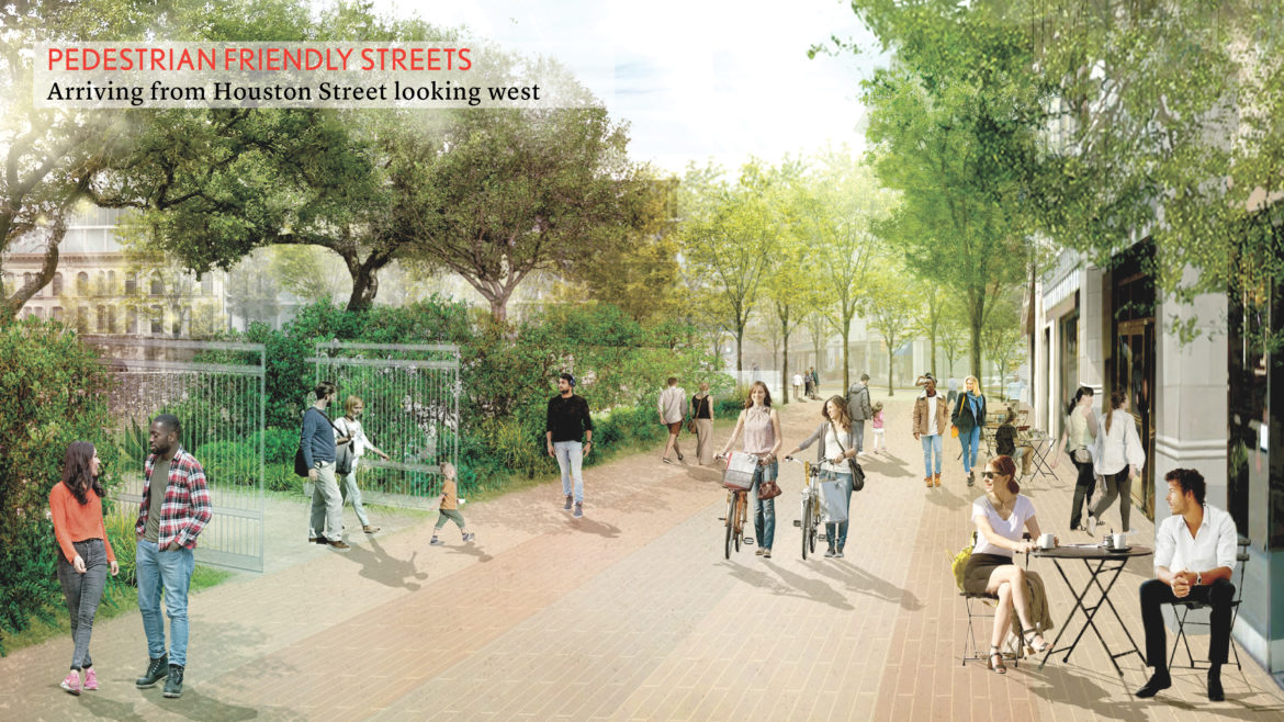 This rendering shows Houston Street reimagined into a pedestrian friendly street with gated access to Alamo Plaza.