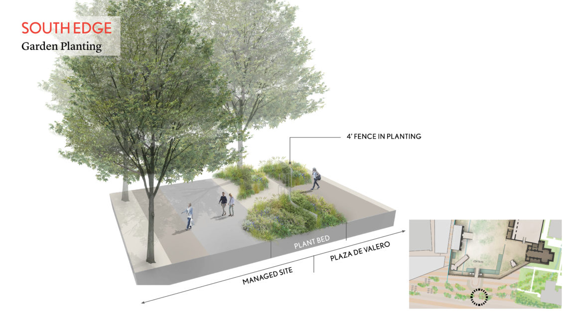This rendering shows plant beds that can be used with discreet fencing for controlling the flow of pedestrian traffic.