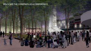 A rendering showing the relocated Alamo Cenotaph at night.