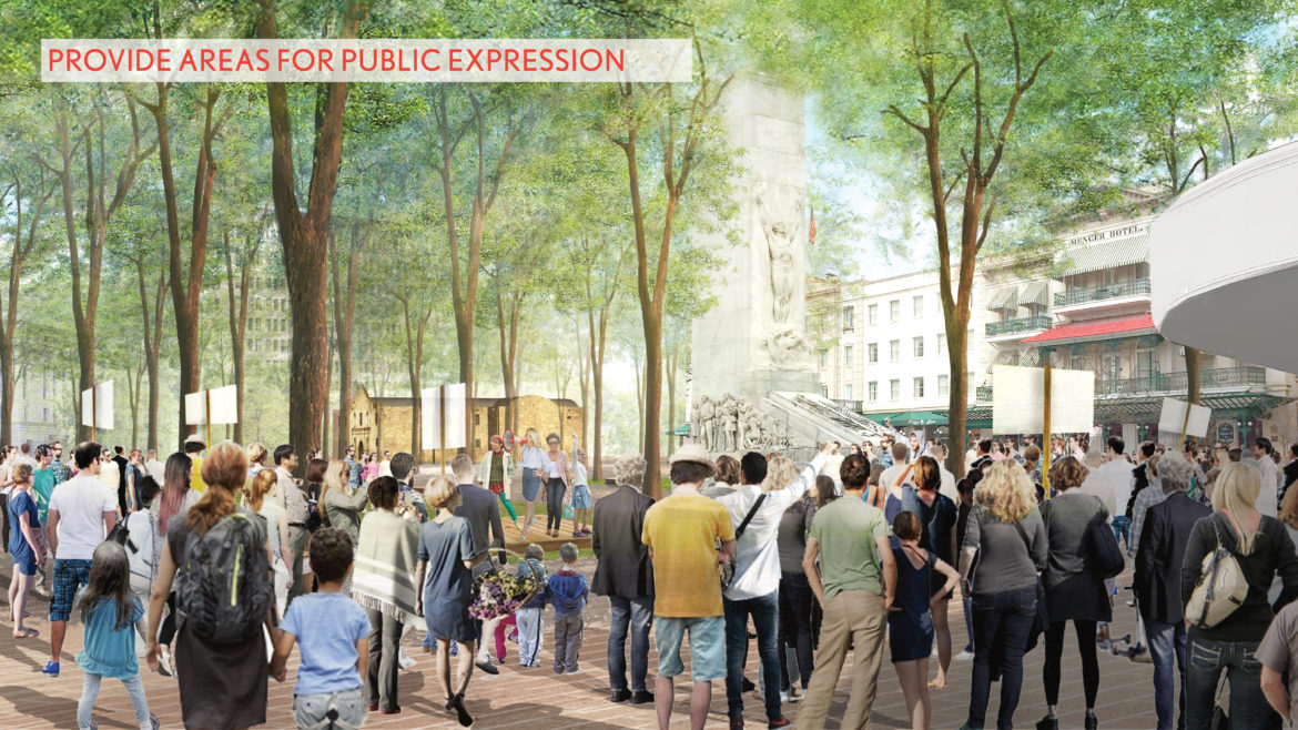 A rendering shows the conceptual plaza which provides areas for public expression surrounding the Alamo Cenotaph.