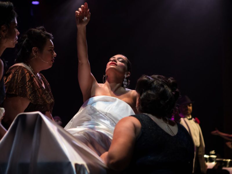 María, sung by Catalina Cuervas, reaches toward the sky as she dies.
