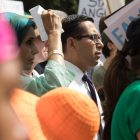 State Rep. Diego Bernal (D-San Antonio) stands in the middle of the crowd before speaking.