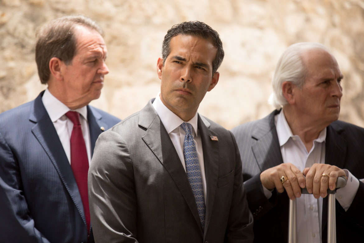 """Texas Land Commissioner George P. Bush on Thursday defended a plan to relocate the Alamo Cenotaph because the 1930s monument is """"falling apart before our very eyes."""""""
