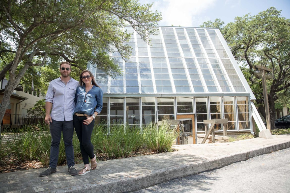 Natalie and Bronson Holbrook stand in front of the future location of Press Coffee set to open in August of this year.