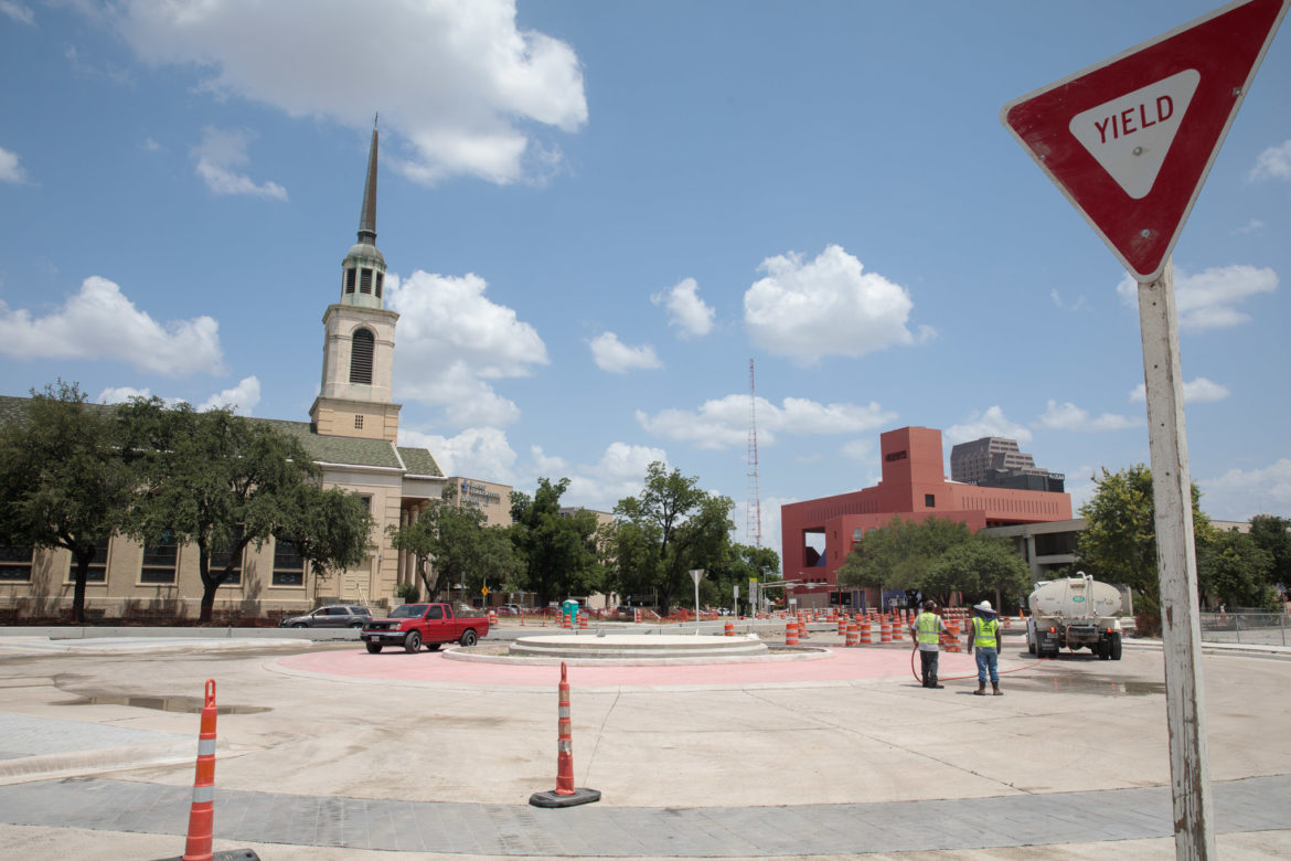 The nearly finished roundabout will open to downtown traffic on Monday.