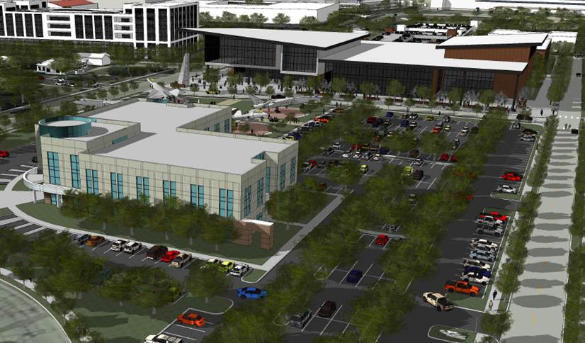 This rendering shows a southward view of the Innovation Center with the recently opened Project Tech in the foreground.