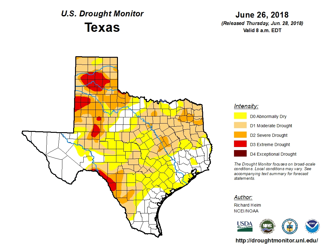 Bexar County is in abnormally dry to moderate drought conditions, according to the most recent Drought Monitor.