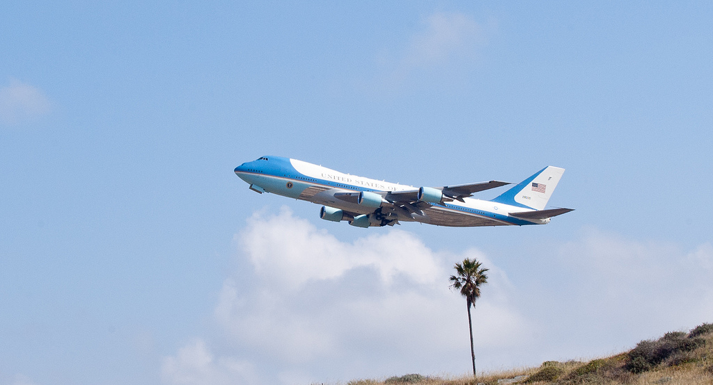 Air Force One takes off from Los Angeles International Airport on Friday, April 22, 2011.