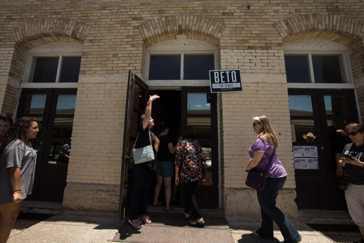 A long line forms at the front door of Beto O'Rourke's campaign's new field office.
