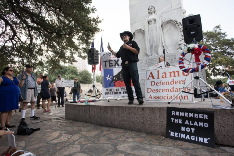 Brandon Burkhardt, This Is Texas Freedom Force President, rallies the protesters.
