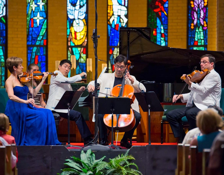 A 2016 piano quartet consists of (from left) CPMF founder Stephanie Sant'Ambrogio, violin; Ryo Yanagitani, piano; Lachezar Kostov, cello; and Ara Gregorian, viola.