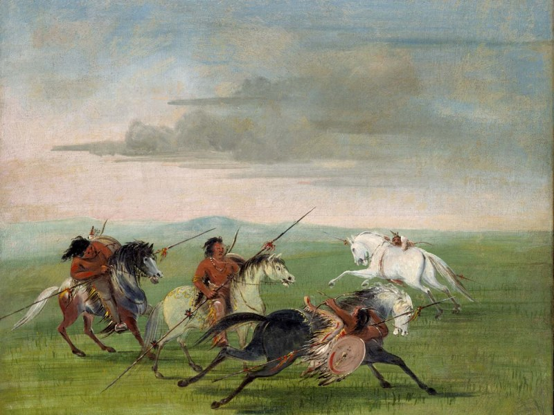 The painting Comanche Feats of Horsemanship was created by George Catlin and is currently displayed in the Smithsonian American Art Museum.