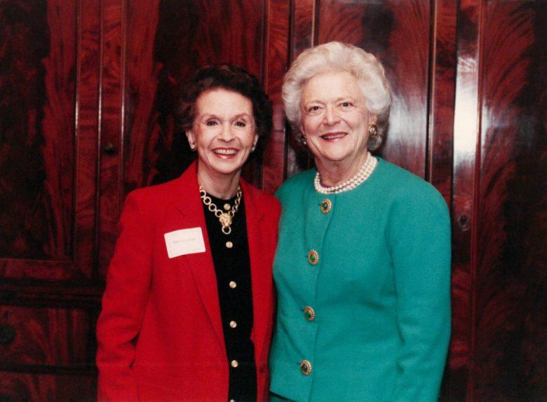 Edith McAllister with the late Barbara Bush.